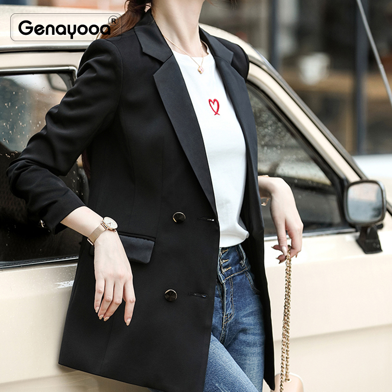 Genayooa Brand Office Lady Blazer Feminino Plus Size 2019 Autumn Quilted Women's Jacket Coats Casual White Blazer Women Black