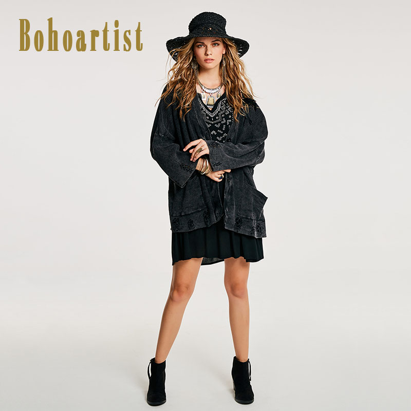 Bohoartist Autumn Women Loose Coat Hole Pocket Single Breasted Cardigan Indie Folk Long Sleeve Button Bohemia Ladies Coats New