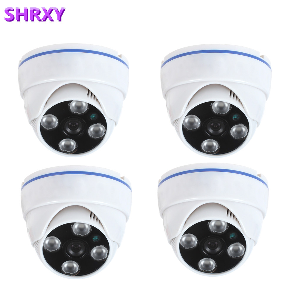 new arrival Free Shipping 4 pcs Small White Plastic Dome Security Camera HD700TVL CMOS Analog Cctv Camera