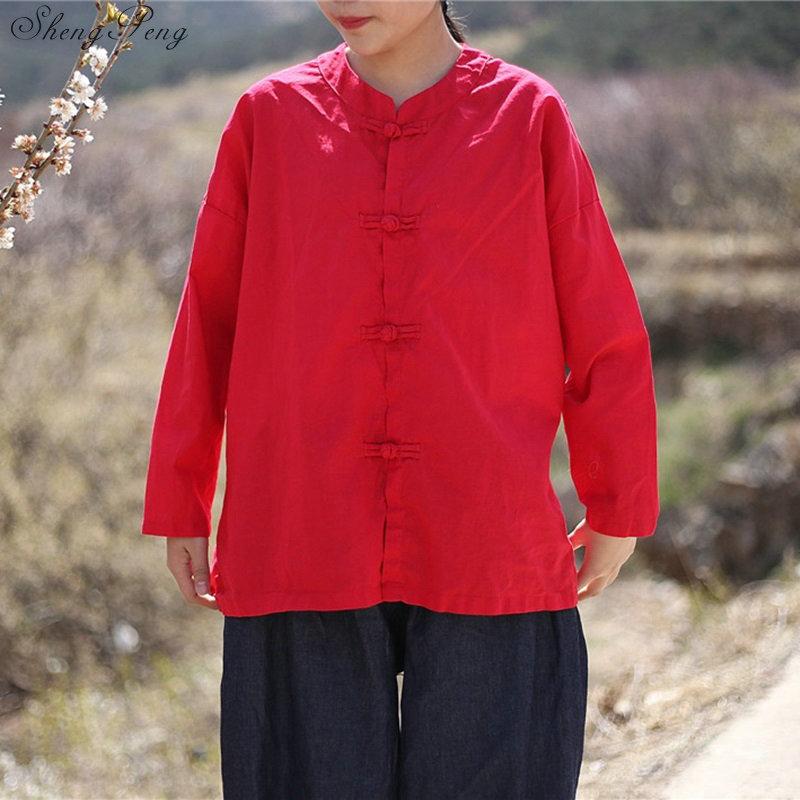 Vêtements chinois traditionnels décontracté hauts amples blouse marché chinois en ligne traditionnel chinois petit haut Q329