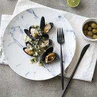 שיש באירופה סדרת קרמיקה כלי שולחן פורצלן עצם חדשה בסגנון מערבי קערת מרק צלחת קערת סטייק סכו