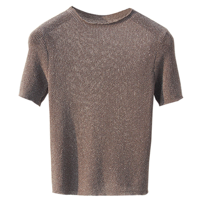 HLBCBG Knitted Summer Shiny T Shirt Women Casual Short Sleeves T Shirt Breathable Elasticity Kintwear Top O Neck Female Tshirt in T Shirts from Women 39 s Clothing