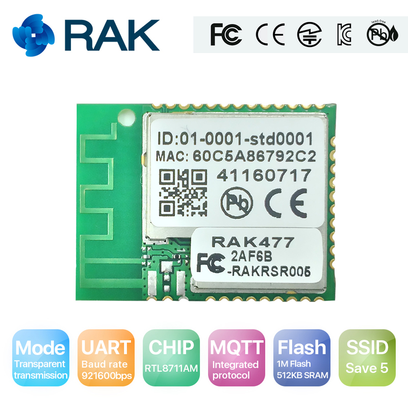 RAK477 Low Power Tiny Size UART Serial to WIFI Industrial Module Tcp Ip Wireless IoT Module MQTT with Onboard Antenna Q112 iot esp8266 wireless wifi serial module esp 07s