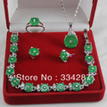 """New Listed !Free Shipping """"GOOD LUCK"""" Dark green Jade Necklace Bracelet Earring Jewelry Set"""