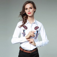 European women's styles 2018 Fashion Elegant all match Long Sleeve Blouse Casual loose cotton shirts Lapel embroidery Tops
