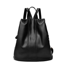woman fashionable mini tablet computer package Minimalist inner bag vogue leisurely noble black waterproof school backpack women