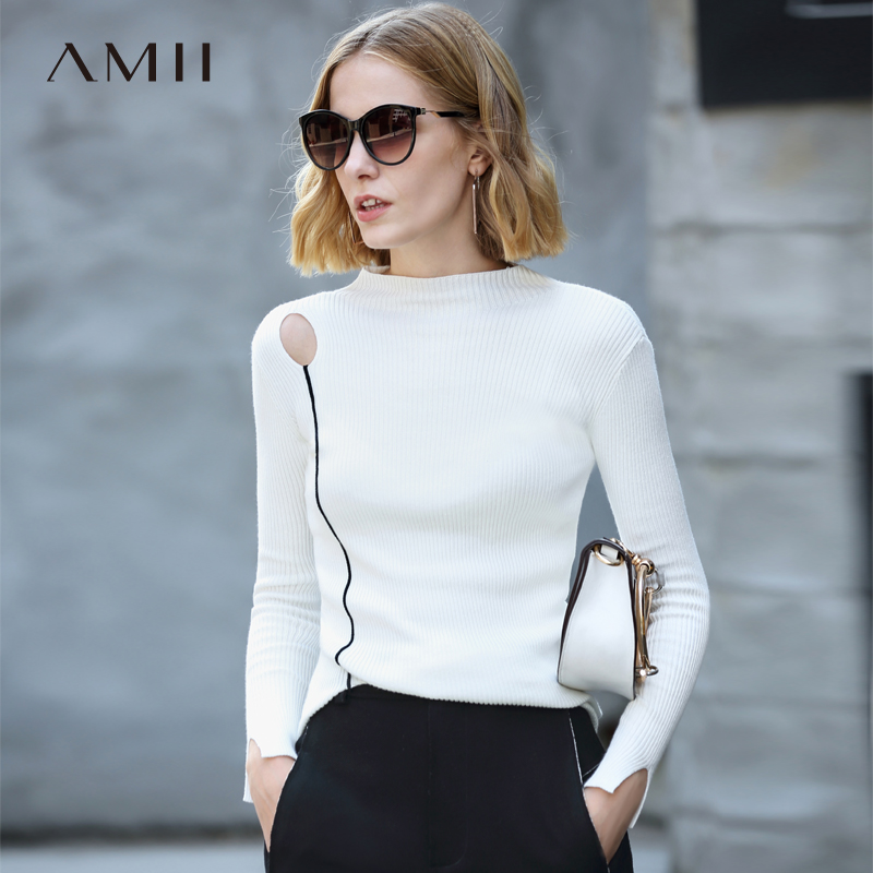 Amii Minimalist Knitted Sweater 2019 Fall Fashion Solid Pullover Ribbed Top Cotton Turtleneck Plus Size Female Tops