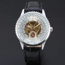font b Winner b font Automatic Men Skeleton Silver Wristwatch Black Leather Strap Mechanical Wristwatches