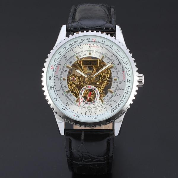 где купить  Winner Automatic Men Skeleton Silver Wristwatch Black Leather Strap Mechanical Wristwatches with Gift Box  по лучшей цене