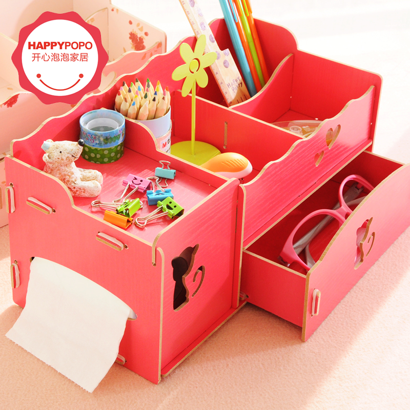Diy wooden box fashion storage box make up organizer jewelry box office accessories drawer organizer