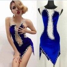Костюм для ночного клуба певица, джазовое платье для танцев, сексуальные бриллиантовые синие бархатные костюмы, стандартное бальное платье, платья для соревнований на коньках