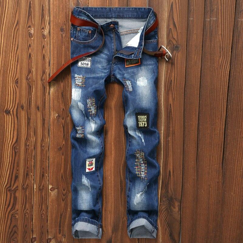 ACRMRAC hommes jeans Slim broderie Patchwork droit grande taille jeans hommes E20