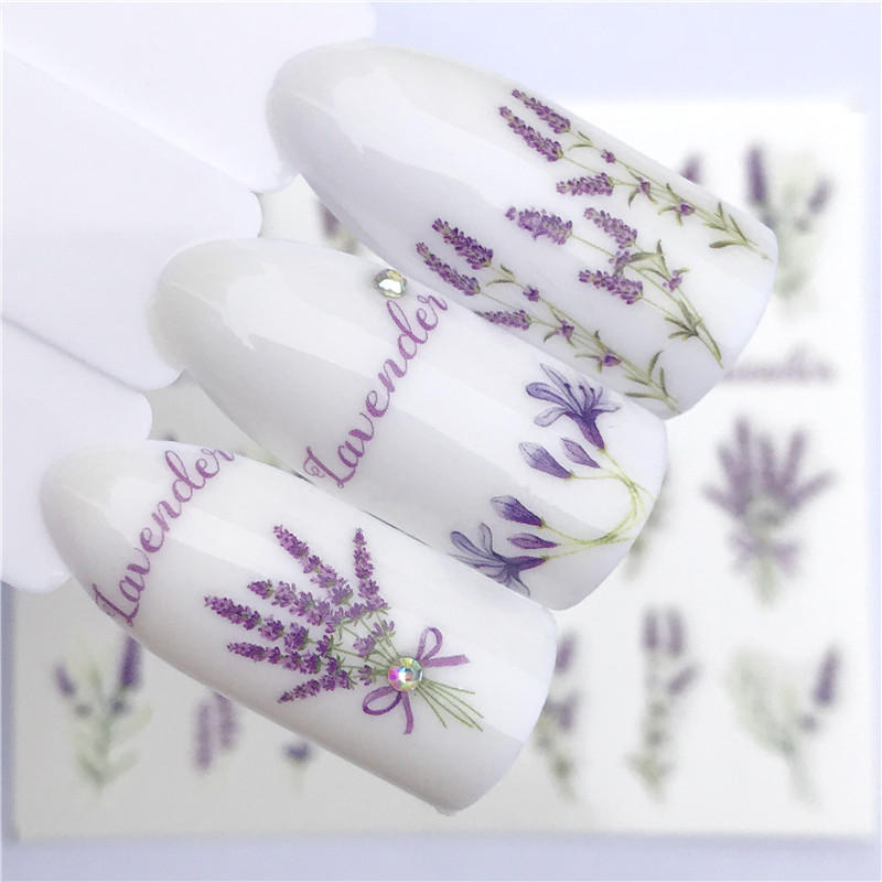 Image 5 - FWC 1 PC Summer Flower Series Nail Water Decals Cute Cat Pattern Tranfer Sticker Flamingo Fruit Nail Art Decoration-in Stickers & Decals from Beauty & Health