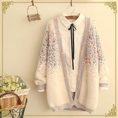 2016 Ramita otoño nuevo de las mujeres capa del suéter de mohair color sólido chaqueta de punto de manga larga floja suéteres salvajes