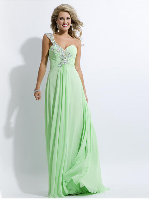 Elegant Long Mint Green Prom Dress 2016 One