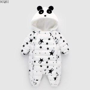 OCQBI Panda Do Inverno Do Bebê Rompers Macacões Newborn 2018 Da Menina do Menino Macacão de Pato Para Baixo Snowsuit Crianças convidando Desgaste Neve
