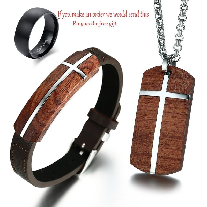 Rosewood Genuine Leather Bracelet Adjust Cross Wood Pendant Necklace For Men Street Set Jewelry Ring As Free Gifts