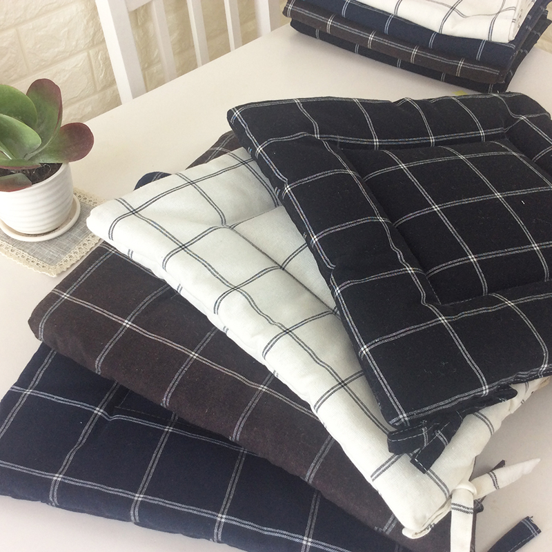 4 Colors Fashion Plaid Office Chair Cushion Mat Pad