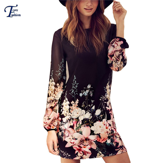 1092c25dd00e4 Women Spring Style 2016 Newest Shift Dresses Beautiful Black Long Sleeve  Floral Print Round Neck Chiffon Short Dress-in Dresses from Women's  Clothing ...