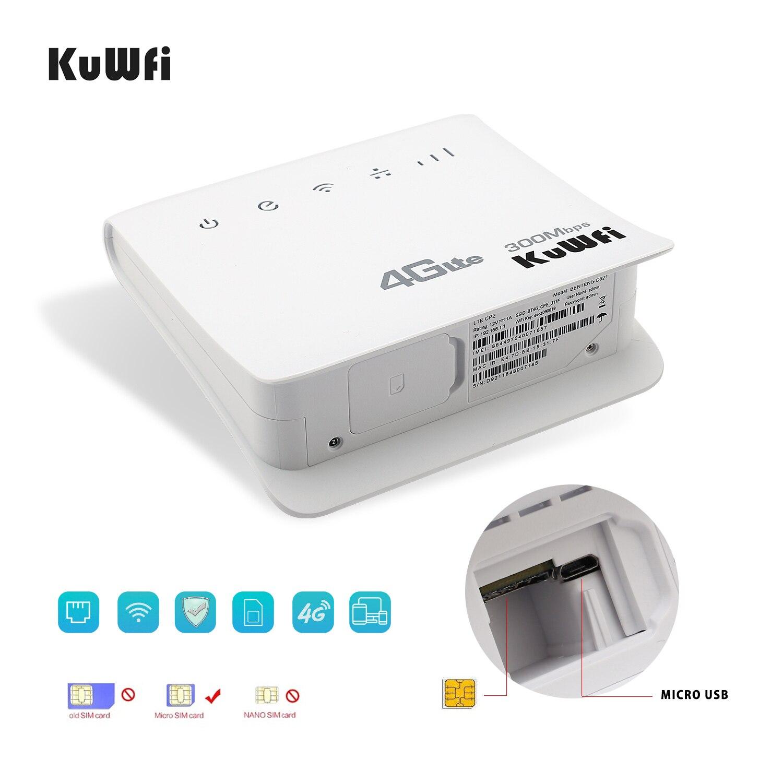 Enrutador KuWFi 300Mbps Enrutador 4G LTE CPE Enrutador inalámbrico para interiores WiFi Enrutador inalámbrico de 2.4GHz Hotspot con puerto LAN Ranura para tarjeta SIM - 3