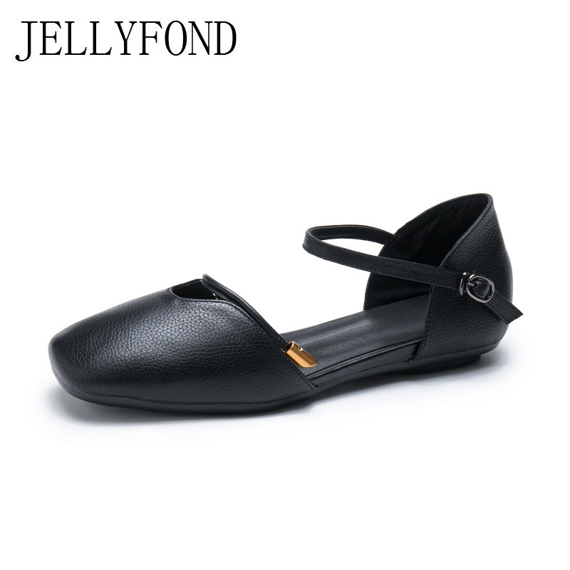 JELLYFOND Brand Handmade Genuine Leather Women Sandals Vintage Style Square Toe Buckle Strap Flat Designer Summer Shoes Woman lucyever women vintage square toe flat summer sandals flock buckle casual shoes comfort ankle strap women footwear mujer zapatos