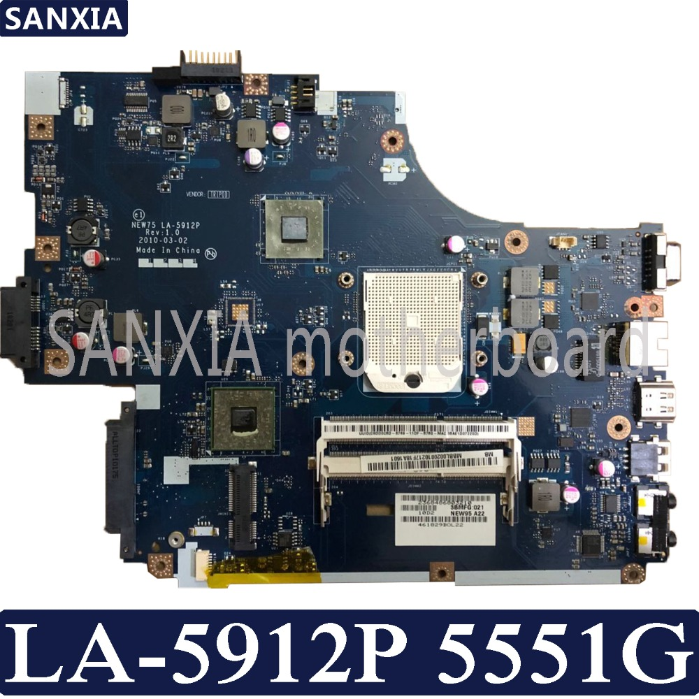 KEFU NEW75 LA 5912P Laptop motherboard for Acer 5551G 5552G Test original mainboard