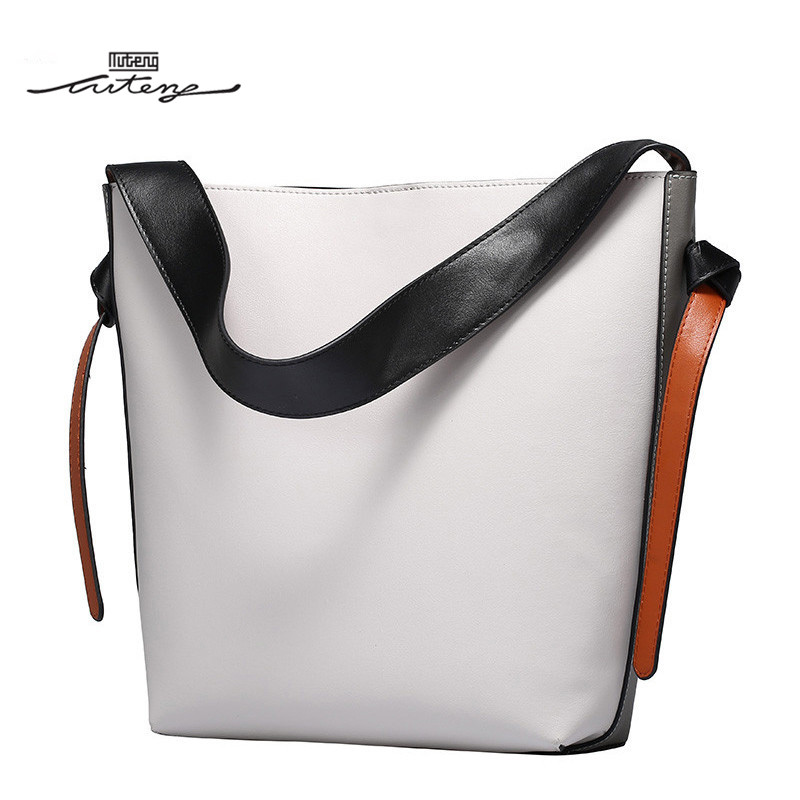 TU-TENG Women Color Block Bucket Totes Handbag 2018 Women Genuine Leather Bags Smooth Handbags Bag Casual Bucket Tote G74570
