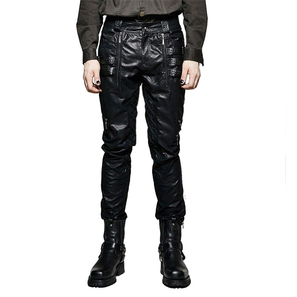 Панк Для мужчин Зимние черные сапоги пикантные обтягивающие кожаные штаны мотоцикл пряжки Дамские шаровары повседневные Прямые ноги Брюки