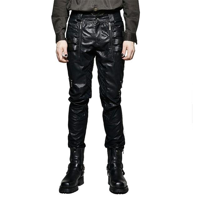 nuovo concetto 2cc36 97283 US $90.4 20% di SCONTO|Punk uomo inverno nero sexy stretti pantaloni di  pelle moto fibbia pantaloni stile harem causale gambe dritte pantaloni in  Punk ...