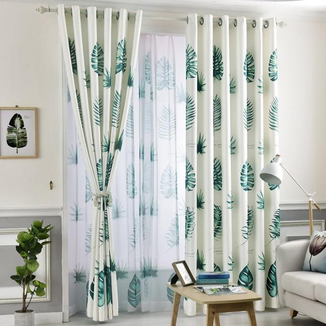 Tropical Plam Fern Leaf Green Blackout Curtains For Living Room Bedroom Window Door Kitchen Home