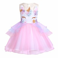 2018 Girls Unicorn Tulle Tutu Dress Kids Rainbow Princess Fancy Dressing Children Birthday Party Floral Cosplay