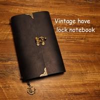 New Vintage Lock Notebook Geniune Leather Cover Travel Journal Notebook Filler Planner Kraft Paper School Supplies