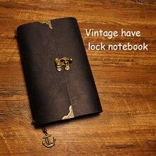 Ежедневно с замком ноутбуков из натуральной кожи ноутбук Traveler журнал наполнитель планировщик крафт-бумага школьные принадлежности старинные ноутбук