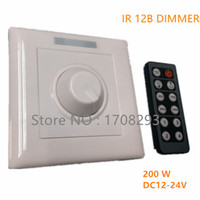 DC12 24V 200W LED Dimmer IR Knob Remote Control Switch For Dimmable LED Strip