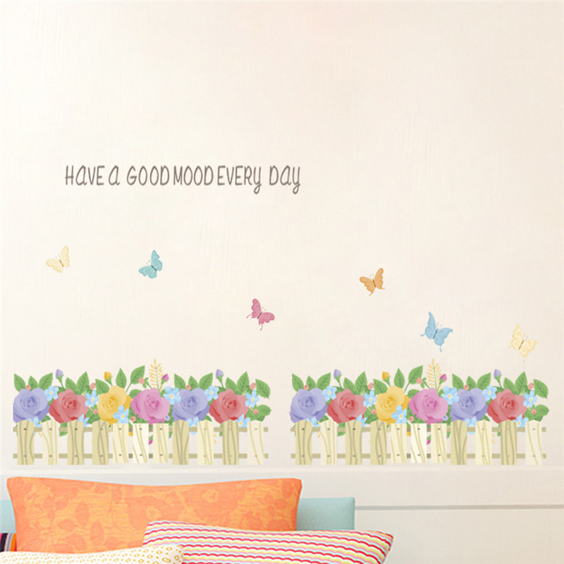 Beautiful flower fence wall stickers living room bedroom - Beautiful wall stickers for living room ...