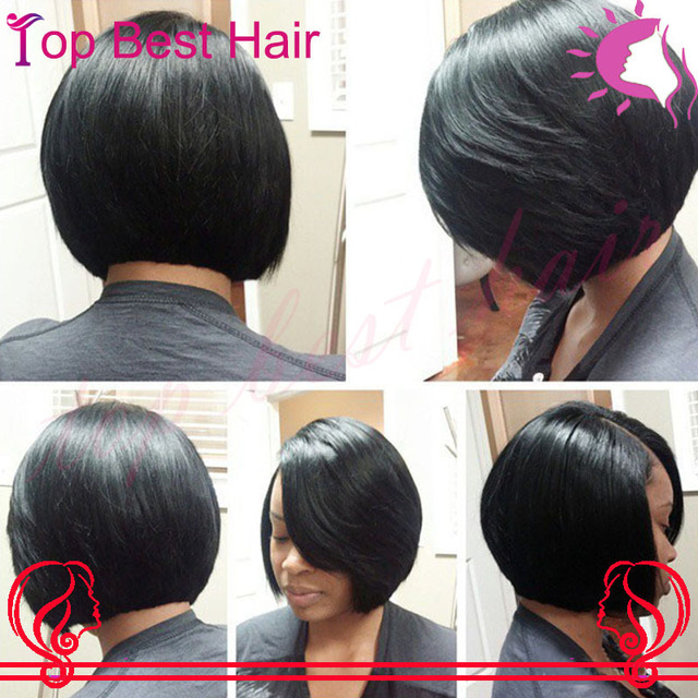 Short 150 Density Human Natural Hair Glueless Full Lace Bob Wigs For