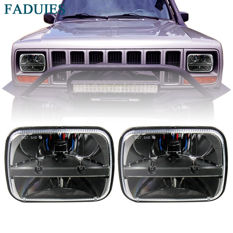 FADUIES 5x7 Inch Led Truck Headlight 6x7 high Low Beam square Led Headlight For Jeep Cherokee