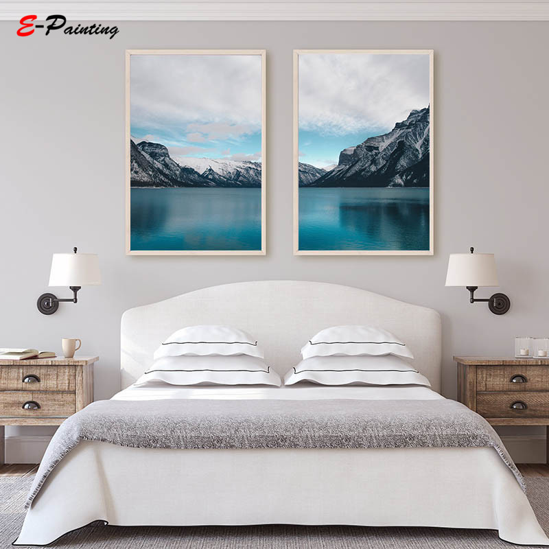 Us 3 55 29 Off Nordic Wall Painting Canvas Print Lake Printable Poster Mountains Landscape Wall Art Decoration Modern Living Room Decor In Painting