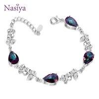 Moda elegante pulseiras para mulher com pedra preciosa multicolorido jóias finas 925 prata pulseiras feminino festa aniversário presente|Pulseiras e braceletes|   -