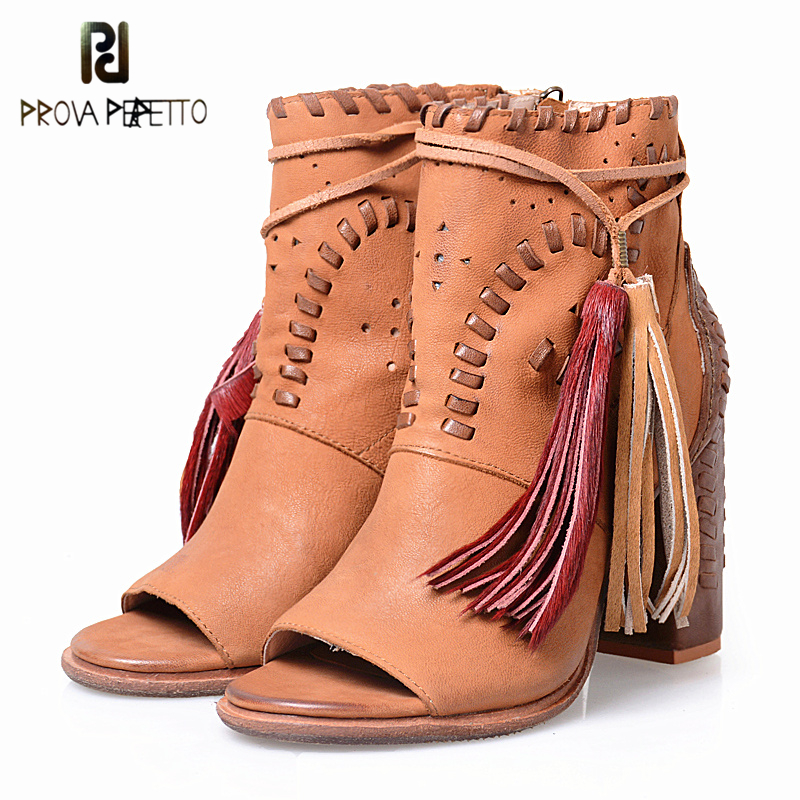 Prova Perfetto Elegant Style Sewing Design Fringe Woman Sandals Boots Peep Toe Genuine Leather Patchwork Chunky High Heel Shoes