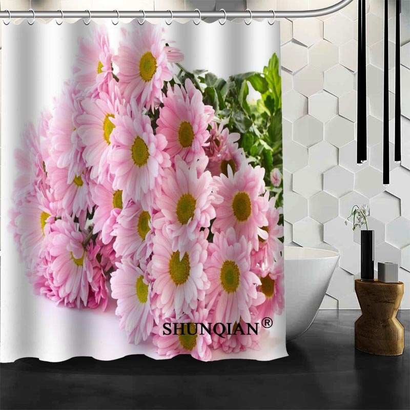 Hot Sale Bathroom Curtains pink flower Shower Curtain Custom ...