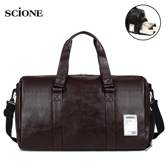 Leather Gym Bag Fitness Sports Bags Handbags For Men Women Training Shoulder  Shoes compartment Traveling Sac De Sport XA18A fd018683ddf2a