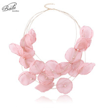 Badu Bohemian Pink Yarn Flower Necklaces for Women Elegance Jewelry Gift Girls Holiday