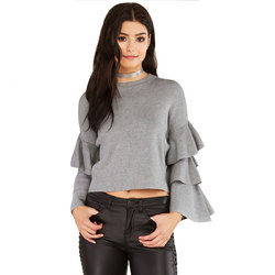 Casual o neck ruffles long sleeve sweater women 2017 winte solid sexy women sweaters and pullovers.jpg 250x250