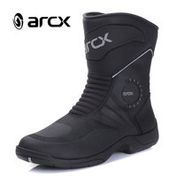 ARCX Motorcycle Boots Genuine Cow Leather Waterproof Motocross Boots Black Men Motorcycle Racing Mid Calf Shoes L60627