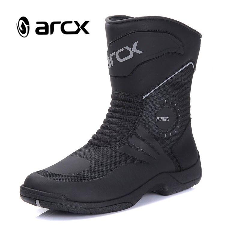 ARCX Motorrad Stiefel Echte Kuh Leder Wasserdicht Motocross Stiefel Schwarz Männer Motorrad Racing Mid-Kalb Schuhe L60627