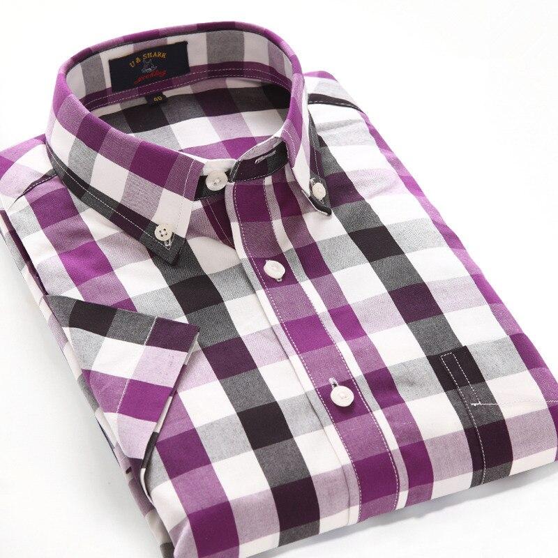 52089d806d2 Summer 100% Cotton Breathable Purple Plaid Shirt Men 2016 New Arrival  Fashion Checkered Shirt Plus Size Mens Short Sleeve Shirt-in Dress Shirts  from Men s ...