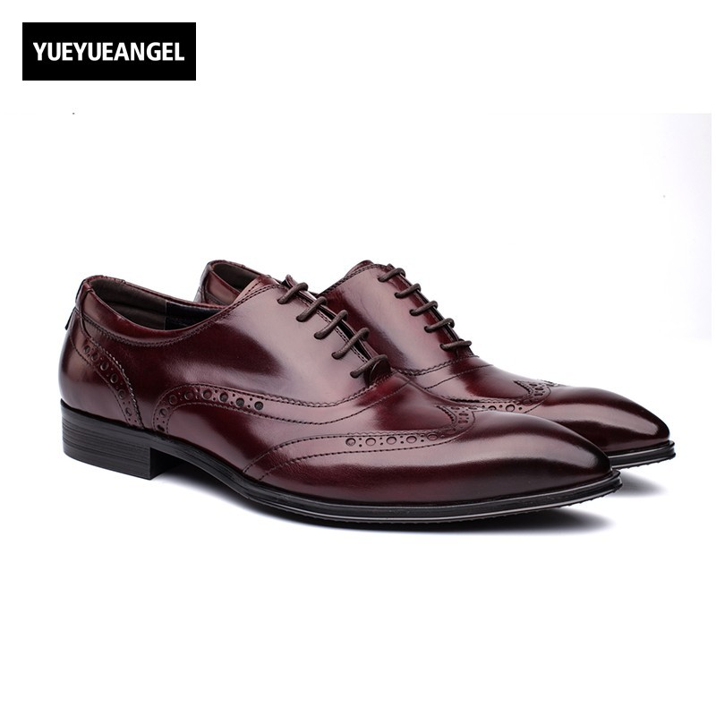 2018 New Fashion British Vintage Lace Up Mens Formal Shoes Oxfords Autumn Genuine Leather Pointed Toe Male Footwear Dress Shoes pointed toe lace up mens dress shoes male footwear autumn new fashion genuine leather british retro plus size top quality brand