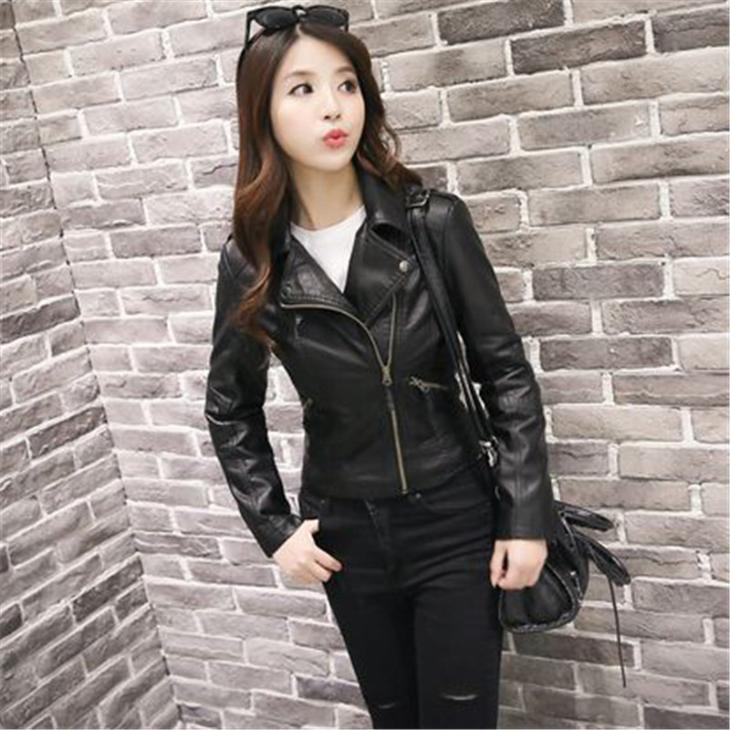 Faux   Leather   Coat Women Black Pink Plus Size Short PU Jacket 19 New Autumn Winter Korean Fashion Slim Zipper Pockets Coats CX974