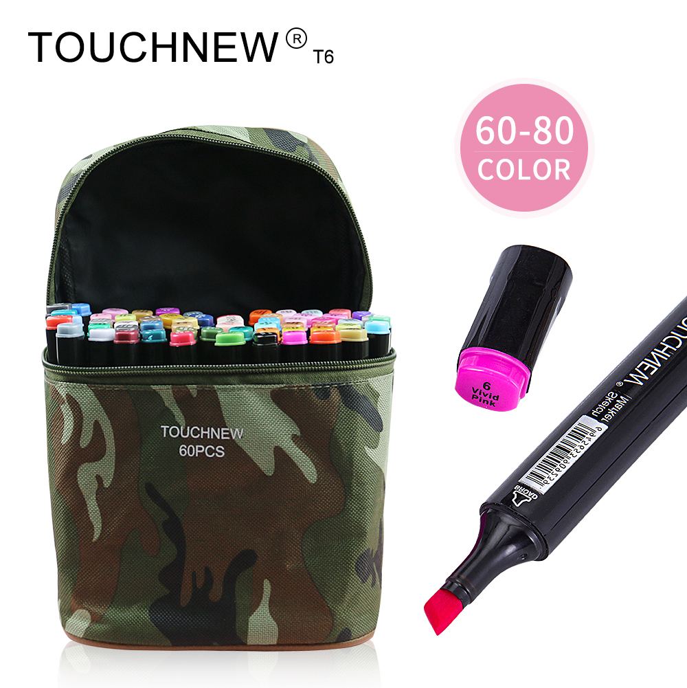 TOUCHNEW T6 60/80 colors dual-tip black barrel sketch markers camouflage bag for drawing painting design manga copic кольца